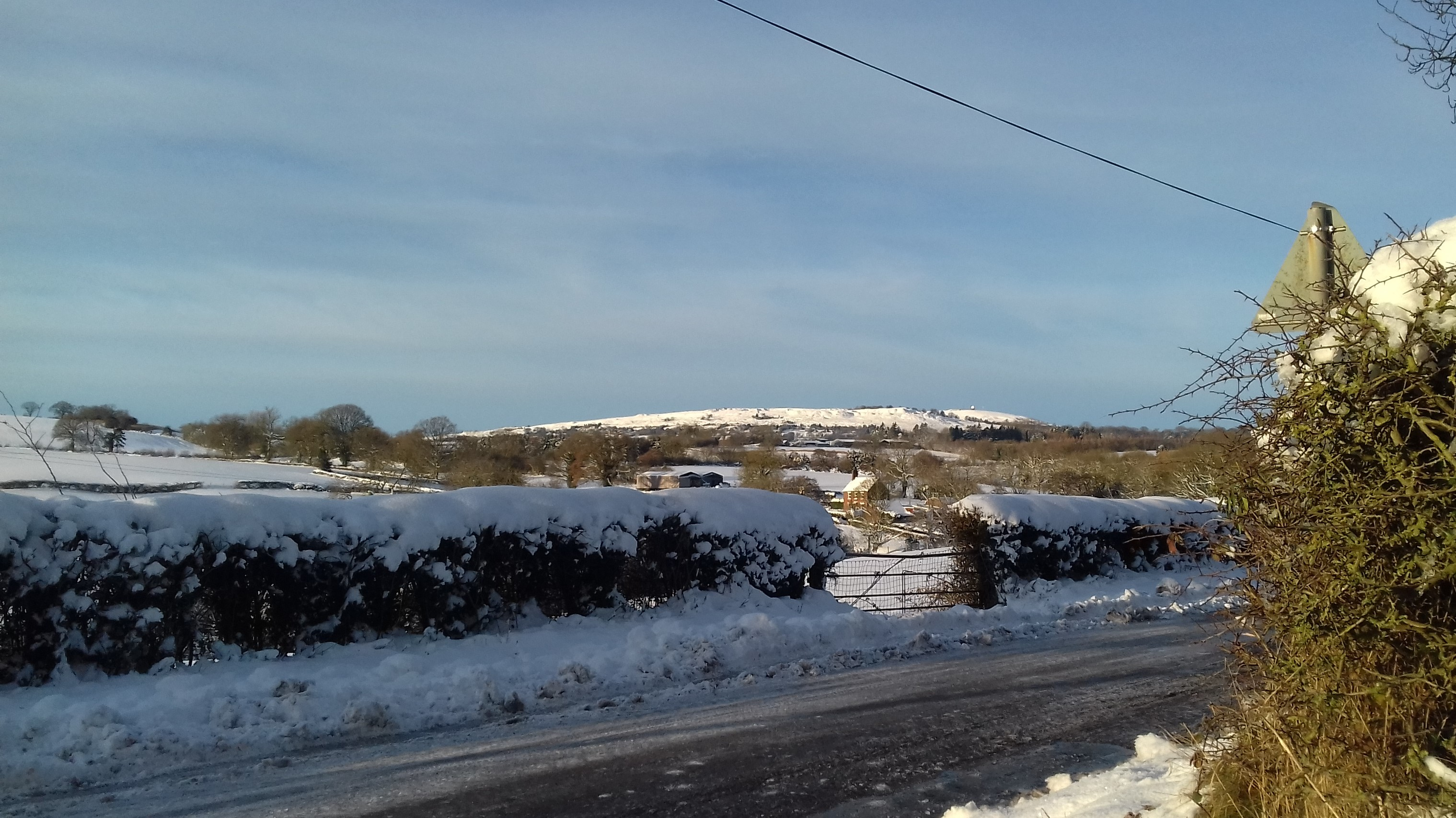 Titterstone Clee in the snow from our drive