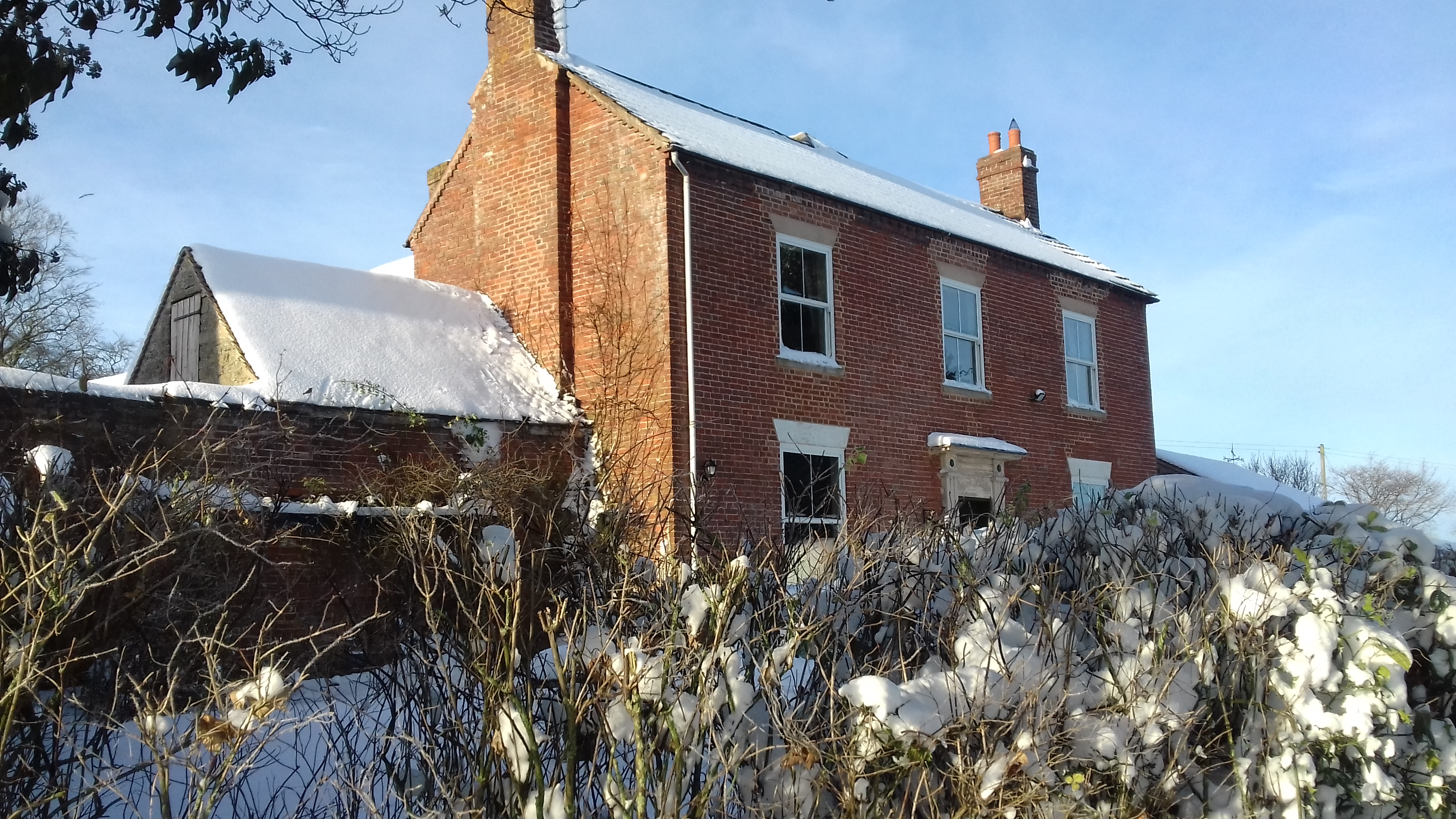 Broome Park Farmhouse in the snow